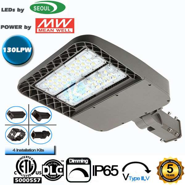 ETL DLC CE Listed LED Area Light 60W 130Lm/W Efficiency Street Lighting Fixtures